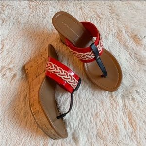 Tommy Hilfiger | Red Nautical Cork Wedges 6.5